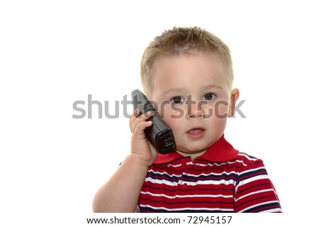 toddler boy with phone