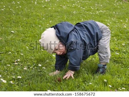 Toddler child, boy or girl, learning to walk, trying to get up from grass lawn.  - stock photo