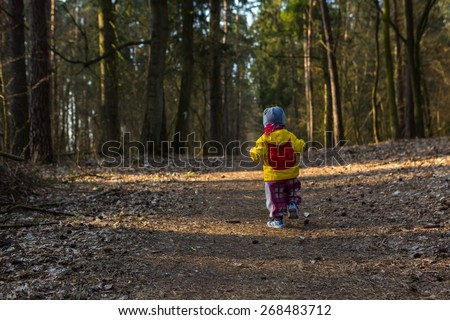 Toddler child walking by path in forest. Springtime forest landscape with small child walking alone on path. - stock photo
