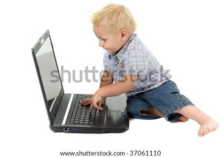 Toddler computer literacy - stock photo