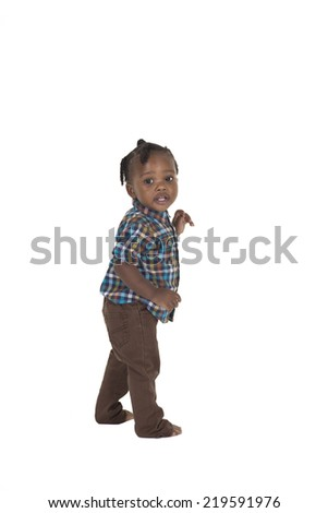 Toddler isolated on a white background - stock photo