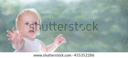 Toddler Little Healthy Baby Girl looking at camera and giving you hands. Cute Child Portrait over pastel background in studio. Space for text in panorama. - stock photo