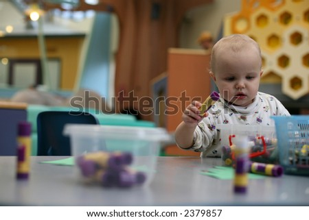 Toddler play in kindergarten