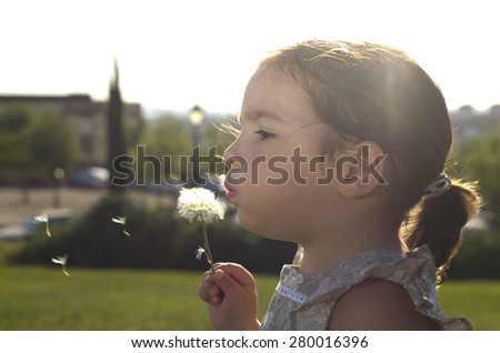Toddler playing and blowing on a dandelion over green background. Three years old - stock photo