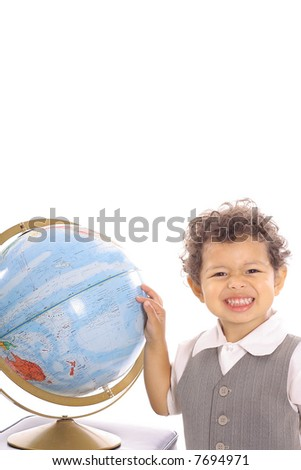 toddler pointing to the globe funny face