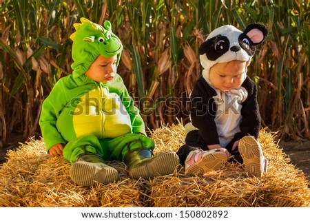 Toddlers dressed up in cute costumes at the pumpkin patch. - stock photo