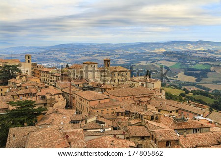Todi. Charming medieval town on top of a hill overlooking the beautiful valley of the Tiber, in the Umbria region, central Italy.