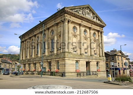 TODMORDEN, WEST YORKSHIRE - AUGUST 24, 2014: Town Hall. Todmorden is a market town and civil parish in the Upper Calder Valley and 17 miles from Manchester. - stock photo