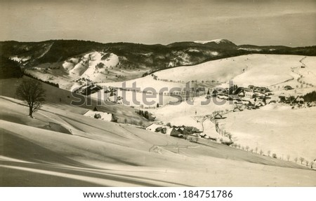 TODTNAUBERG, GERMANY, CIRCA  1929: Vintage photo of a German village in Black Forest (Schwarzwald) belonging to the municipality of Todtnau, in Baden-W�¼rttemberg.