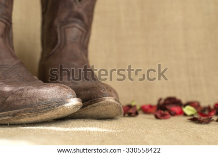 toes of brown cowboy boots, with negative space on the right - stock photo