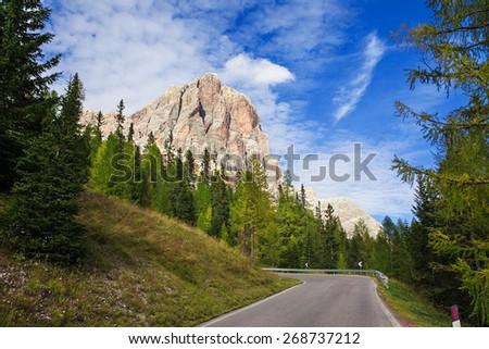 Tofana di Rozes - Dolomiti Mountains, Fazarego pass, Italy - stock photo