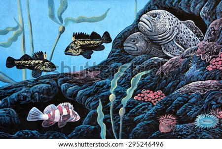 TOFINO BC CANADA JUNE 22 2015: Deep sea mural in Tofino is a district on the west coast of Vancouver Island, in BC located at the western terminus of Highway 4, on the tip of the Esowista Peninsula - stock photo