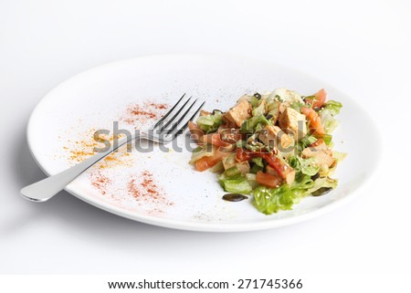 Tofu and vegetables salad. White background