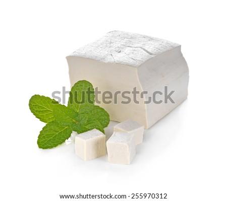 tofu cheese on white background - stock photo