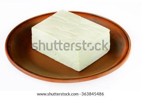 Tofu isolated on white - stock photo