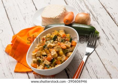 tofu ratatouille with sesame seed - stock photo