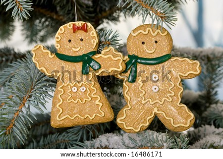 Together at Christmas male and female gingerbreads - stock photo