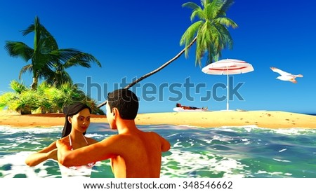 together in tropical paradise in the evening - stock photo