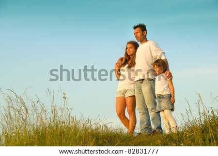 Together on the hill - stock photo