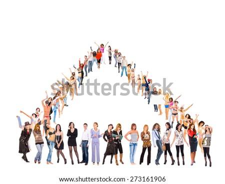 Together we Celebrate Teamwork Achievement  - stock photo