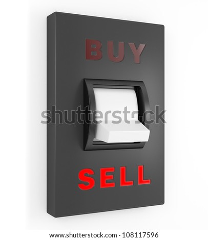 Toggle switch in Sell position, business concept illustration