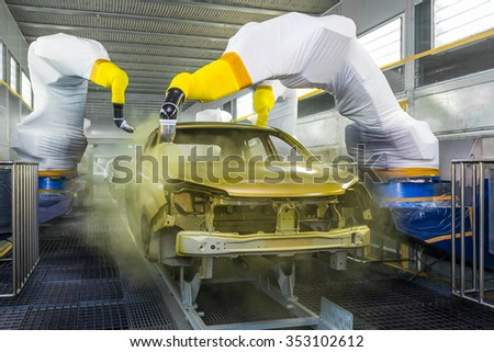 TOGLIATTI, RUSSIA - JUNE 09: Paint Shop B0 Platform. Robots painting body of LADA XRAY Car in Automobile Factory AVTOVAZ on June 09, 2015 in Togliatti - stock photo