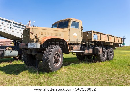 TOGLIATTI, RUSSIA - MAY 2, 2013: Old military truck KrAZ in Togliatti technical museum in sunny day - stock photo