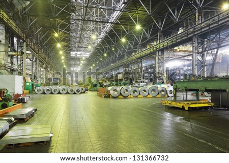TOGLIATTI - SEPTEMBER 30: Rolls of material for production of details at Avtovaz factory, September 30, 2011, Togliatti Russia. Russian President V.Putin signed decree awarding state awards to AvtoVAZ - stock photo