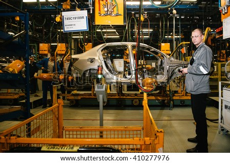Togliatty, Samara region, Russia - December 15: Assembly line of LADA Cars Automobile Factory AVTOVAZ - on December 15, 2015 in Togliatty - stock photo