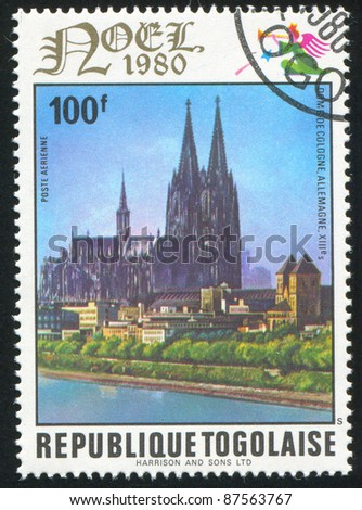 TOGO - CIRCA 1980: stamp printed by Togo, shows Cologne Cathedral, Germany, circa 1980.