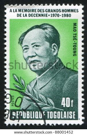 TOGO - CIRCA 1980: stamp printed by Togo, shows Mao Zedong, circa 1980. - stock photo