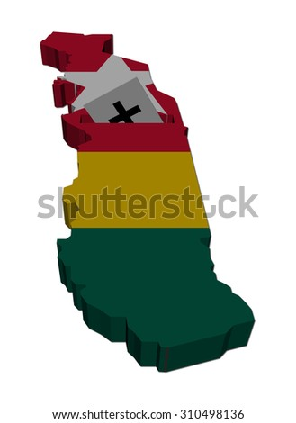 Togo election map with ballot paper illustration - stock photo