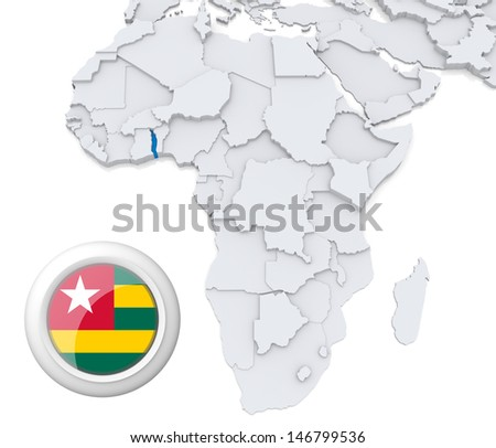 Togo with national flag - stock photo
