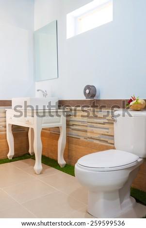Toilet and bathroom in Banana Garden Beach, Koh Lanta, Krabi, Thailand. - stock photo