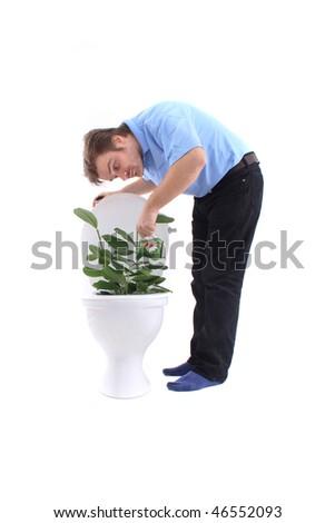 toilet as garden - stock photo