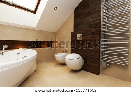 Toilet, bidet and huge washtub in stylish bathroom - stock photo