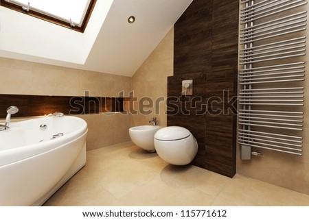 Toilet, bidet and huge washtub in stylish bathroom - stock photo