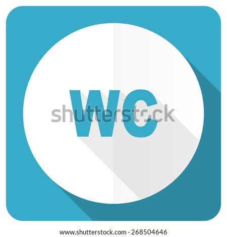 toilet blue flat icon wc sign  - stock photo