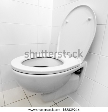 Toilet bowl in a modern bathroom.  - stock photo
