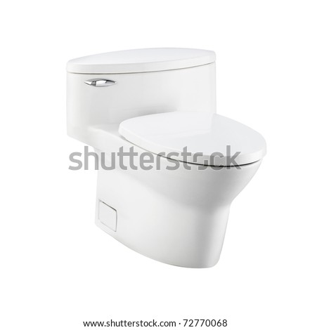 Toilet bowl is great design and comfortable for a nice bathroom an image isolated on white  - stock photo