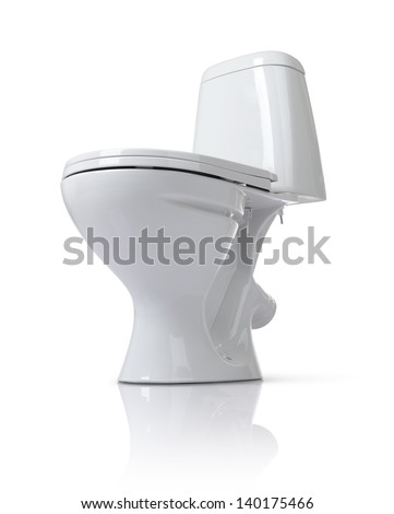 Toilet bowl isolated on white background. File contains a path to isolation. - stock photo