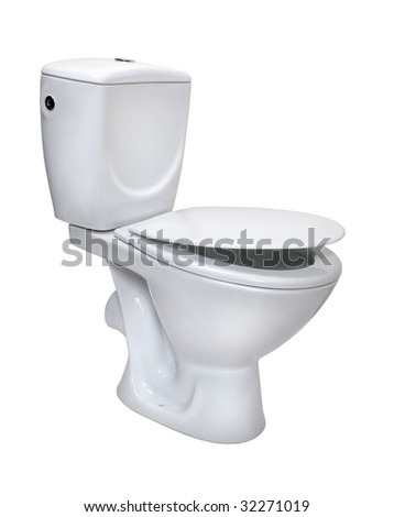 Toilet bowl, isolated on white. File includes clipping path for easy background removing - stock photo