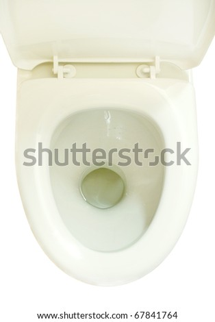 Toilet bowl seat. The top view. On a white background - stock photo