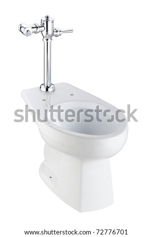 Toilet bowl should be easy to use and cleaning, image isolated on white - stock photo