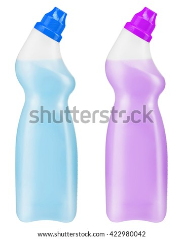 Toilet cleaner bottles. Photo is two transparent plastic bottles with blue and purple cleaning liquid isolated on white background - stock photo