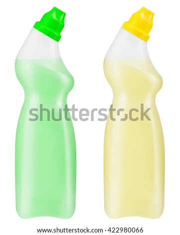 Toilet cleaner bottles. Photo is two transparent plastic bottles with yellow and green cleaning liquid isolated on white background - stock photo