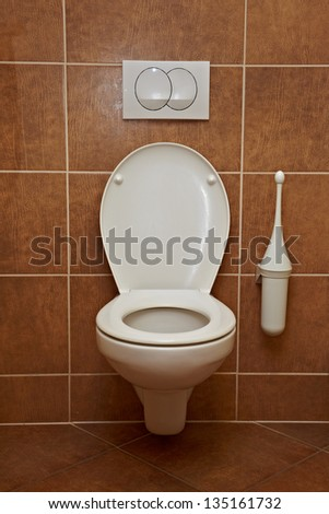 Toilet close up, lavatory interior