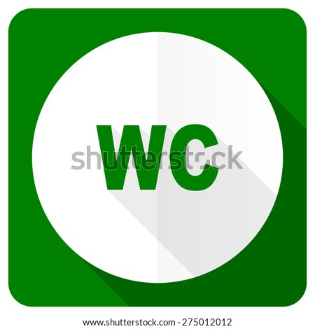 toilet flat icon wc sign  - stock photo