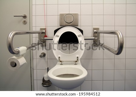 toilet for disabled - stock photo