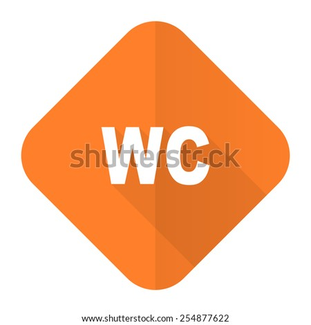 toilet orange flat icon wc sign  - stock photo